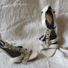 Alfani Step-N-Flex White Sexy White Patent Sandals Zippered Back Shoes Size 8