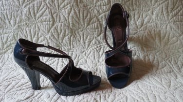 HOT TriBeca Kenneth Cole Blue High Heel 40's Look Peep Toe Platform Shoes Size 9