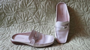 Fabu Geox Respira White Leather Clogs Mules Shoes Size 39 US 8.5