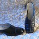 Anne Klein Black Leather Mules Slides Shoes Size 6