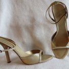 Super Sexy I mean Super BCBG Gold Leather & Fabric High Heel Shoes Size 8.5