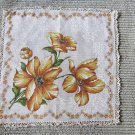 007 Gorgeous Bold Flowers with Crocheted Edges Vintage Handkerchief Hankie