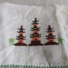 023 Oriental Theme Pagodas Embroidered on This Vintage Hand Towel Linens