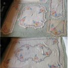 RARE Gorgeous Unique Color Set of 6 Matching Hand Embroidred Tablecloths Runners