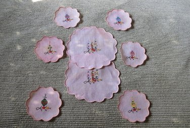 Rare Chinese Lanterns Embroidered on Goblet Coasters & Fingerbowl Linens