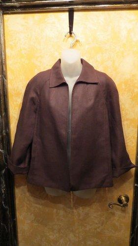 Talbots New w Tag Brown Irish Linen Blazer Jacket With 2 Exterior Pockets Size M