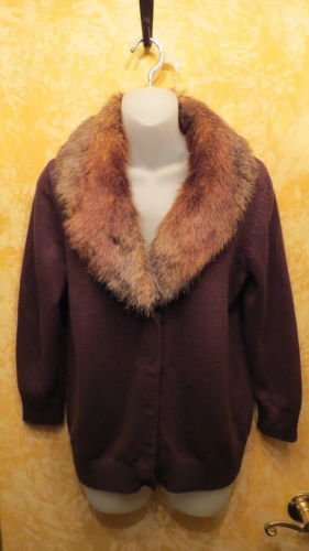 NEW W Tags Fabulous Jones New York Sweater With Removable Fur Collar Size M