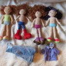 Lot Of 4 Groovy Girls Dolls And A Dress & Coat For A Total Of 6 Pieces