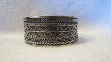 Vintage Intricate Bold Silvertone Cuff  Bracelet