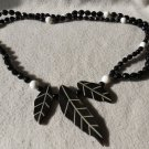 Vintage Carved Leaf  Necklace With Black Beads