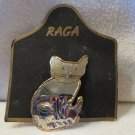 NEW on Card Never Worn Vintage Pin Silver and Gold Tone Cat Brooch