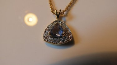 Gorgeous NEW Glass Tanzanite 14Kt Gold Plated  Necklace