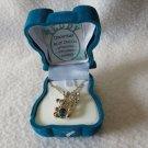 Gorgeous NEW Blue Zircon Teddy Bear Birth stone NecklaceWith Cute Bear Box