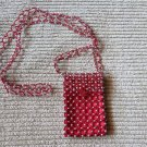 Gorgeous Hand Red & Silver Beaded Designer Cell Phone Purse Holder Super Cute