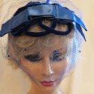 Gorgeous Blue Velvet Netting and Satin True Vintage Hat