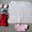 Cool Build a Bear Lot Lady Bug Custome, Bunny Shoes Hat Blanket Super Cute stuff