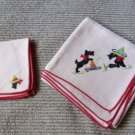 Vintage Set of 5 Embroidered Scottie Dogs w Somberos on Tablecloth and 4 Napkins