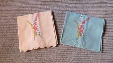 Set of 2 Exquisite Turquoise & Yellow  Embroidered Pussy Willows?  Hand Towels