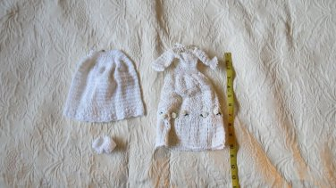 Lot Of 3 Handmade Crocheted White  Barbie Clothes