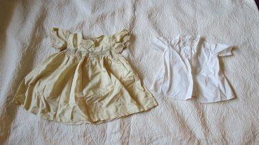 Lot Of 2 Vintage Antique Baby or Doll  Doll Clothes Dresses