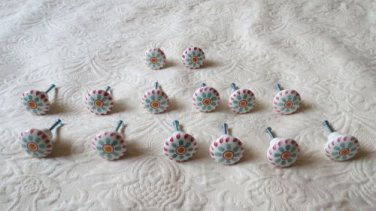 Lot Of 14 Gorgeous Ceramic Handpainted  Decorative Cabinet Door Pulls Knobs
