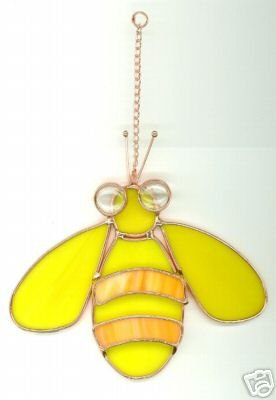 FREE SHIPPING !! Yellow Bee Suncatcher Stained Glass
