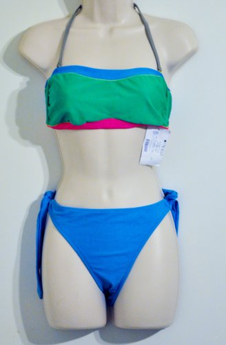 Abs pink, blue, green color block bandeau swim set