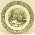 ROYAL CURRIER IVES PIE BAKING PLATE VINTAGE GREEN THE OLD HOMESTEAD IN WINTER