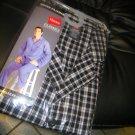 NEW Hanes Men's Plaid Woven Pajamas BLACK WHITE