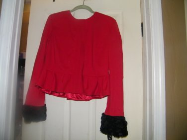 NEW PETER NYGARD  LS RED ZIP FRONT JACKET FAUX FUR CUFFS 12 PETITE