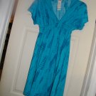 NEW MERONA DEEP V PLUNGE CAP SLEEVE EMPIRE BLUE TIE DYE  DRESS XSA