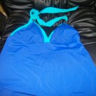 NEW TROPICAL ESCAPE Surf The Web Blue Contrast Trim Tankini 8