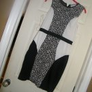 NEW STITCH BETWEEN BODY CON COOR BLOCK DRESS BLACK WHITE