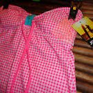 NEW JOE BOXER JUNIORS BANDEAU TOP PINK GINGHAM TANKINI L