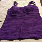 NWOT WOMAN'S PLUS Lands End PURPLE RIBBED TANKINI SWIM TOP 16W