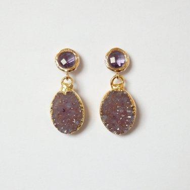 Purple Druzy Earrings, Oval Drusy, Amethyst Gold Post, Trendy, Modern, Bridal, Stone, Agate, Quartz