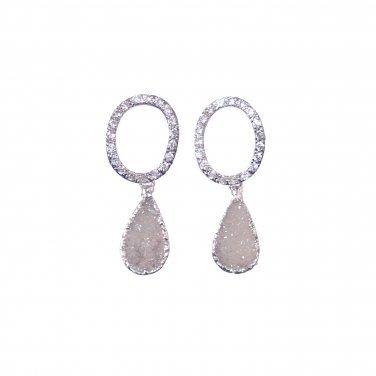 Gray Druzy Earrings, Silver Diamond Post Stud, Sparkly, Unique Bride, Wedding, Bridal, Teardrop