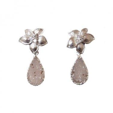 Gray Druzy Earrings, Silver Flower Post, Antique, Bride, Wedding, Bridal, Teardrop, Stone