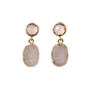 Grey Druzy Earrings, Chalcedony Pink Post Stud, Unique, Trendy, Edgy, Round, Oval, Gray Stone