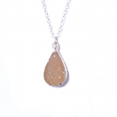 925 Sterling Silver Beige Light Brown Druzy Necklace, Neutral Teardrop Pendant