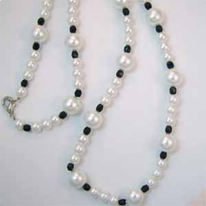 White Pearl Necklace Handmade (JE12E)
