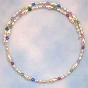 Multi-Colored Swarovski Crystal Silver Beads Choker Necklace (JE67E)