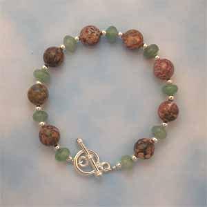 Leopardskin Jasper and Green Aventurine Bracelet Handmade (JE6E)