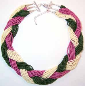 Braided Seed Bead Necklace Forest Green Rose and Cream Colored Handmade (JE178E)