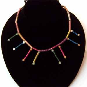 Wire-Coiled Necklace with Coil Dangles Handmade (JE117E)