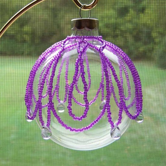 Lavender Beaded Ornament Cover Handmade (JE190E)