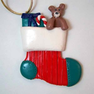 Stocking with Gift and Bear Christmas Ornament Polymer Clay (PO208)