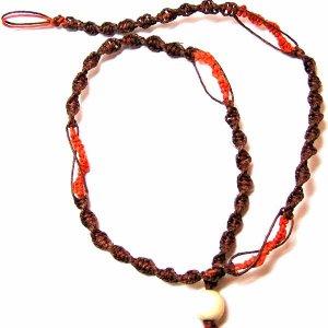 Brown and Orange Hemp Necklace Handmade (JE227)