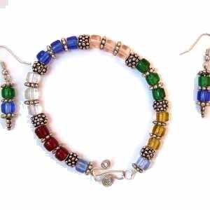 Multi-Colored Cubed Bracelet and Earrings Set Handmade (JE79E)