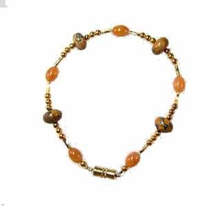 Leopardskin Jasper and Red Aventurine Bracelet Handmade (JE37E)